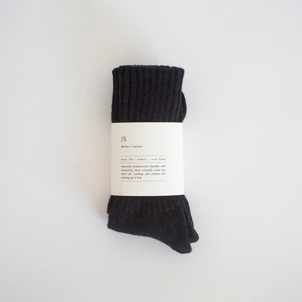 HEAVY KNIT MOHAIR SOCKS - BLACK