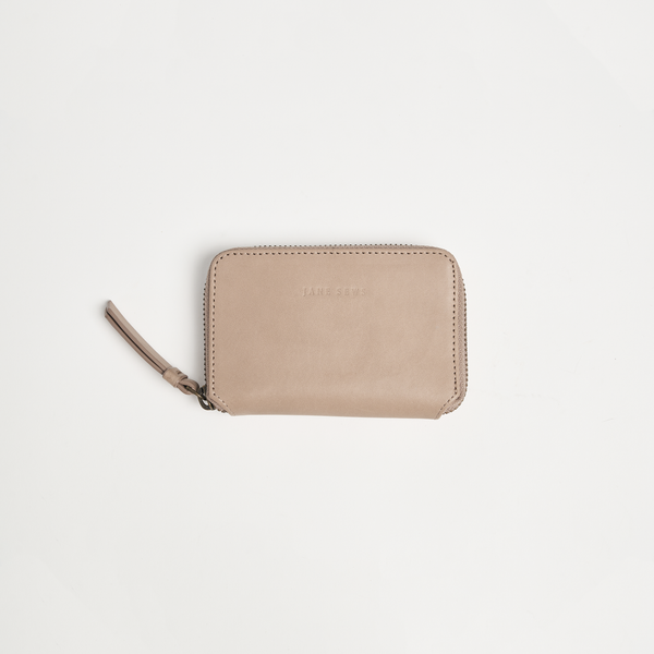 SHORT ZIP WALLET - NOUGAT