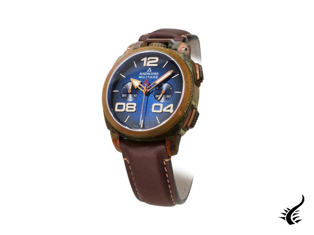 Anonimo Militare Chrono Oxidized Bronze Automatic Watch, Blue, 43,5mm, L.E