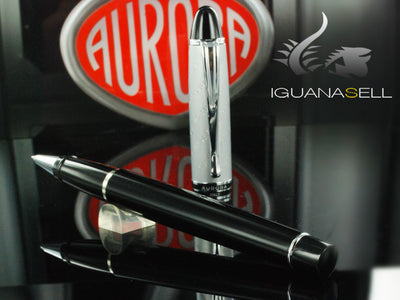 Aurora Ipsilon Rollerball pen, Black Resin, Chrome trim, B71CD