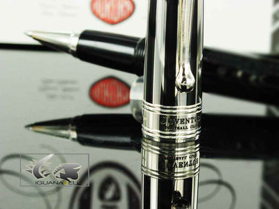 Aurora Optima Rollerball pen, Black Resin, Chrome trim, Juventus Special Edition