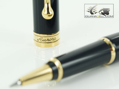Aurora Roller Pen 88 in Black Resin & Gold Plated - 870