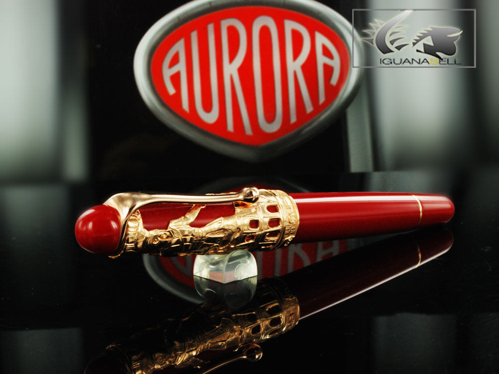 Aurora Roma Fountain Pen, Vermeil (gold plated .925 silver), 800VR