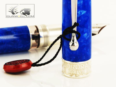 Aurora Mar Ligure Blue Marbled Resin Fountain Pen - LE