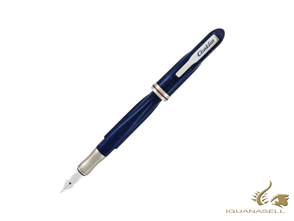 Conklin Empire Stardust Blue Fountain Pen, Acrylic Resin, CK75388