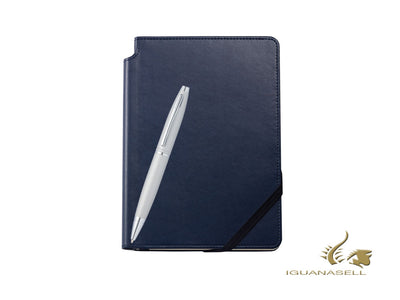 Cross Calais Ballpoint Pen & Blue Notebook Set, Chrome, AT0112-16/2M