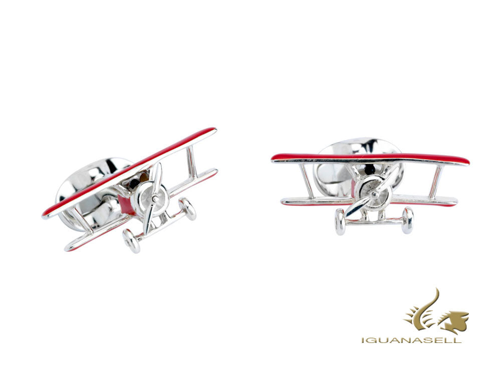 "Deakin & Francis ""Red Biplane"" Cufflinks, Silver .925, Red, C1574S07"