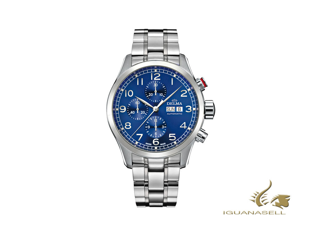 Delma Aero Pioneer Chronograph Automatic Watch, Blue, 45 mm, 41701.580.6.042