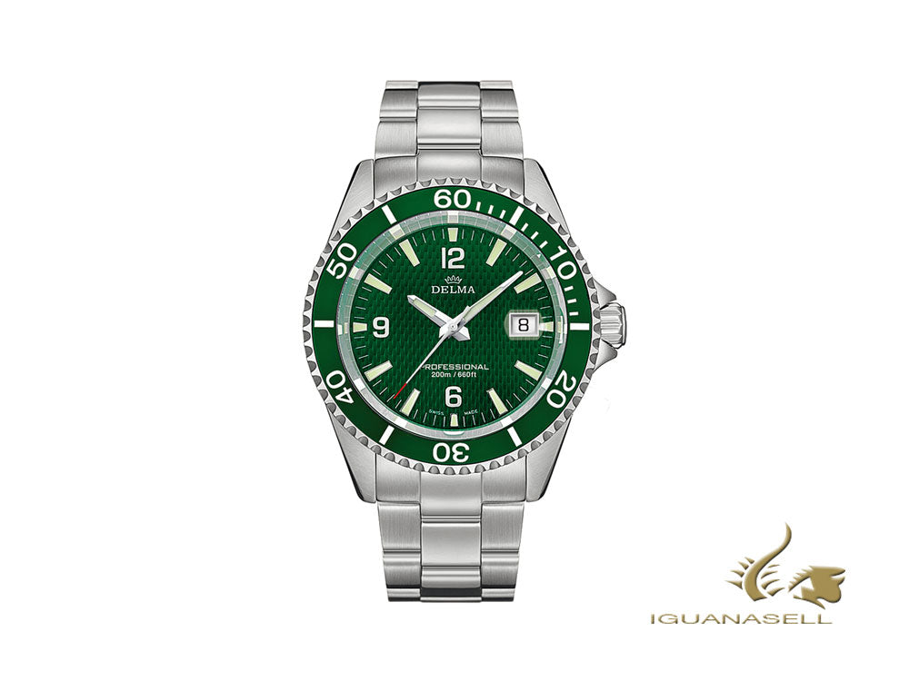 Delma Diver Santiago Quartz Watch, Green, 43 mm, 20 atm, 41701.562.6.144