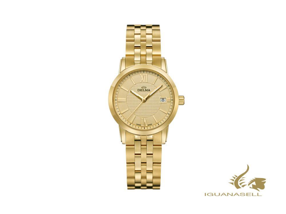 Delma Dress Cordoba Ladies Quartz Watch, golden, 28mm, 5 atm, 42702.527.1.021