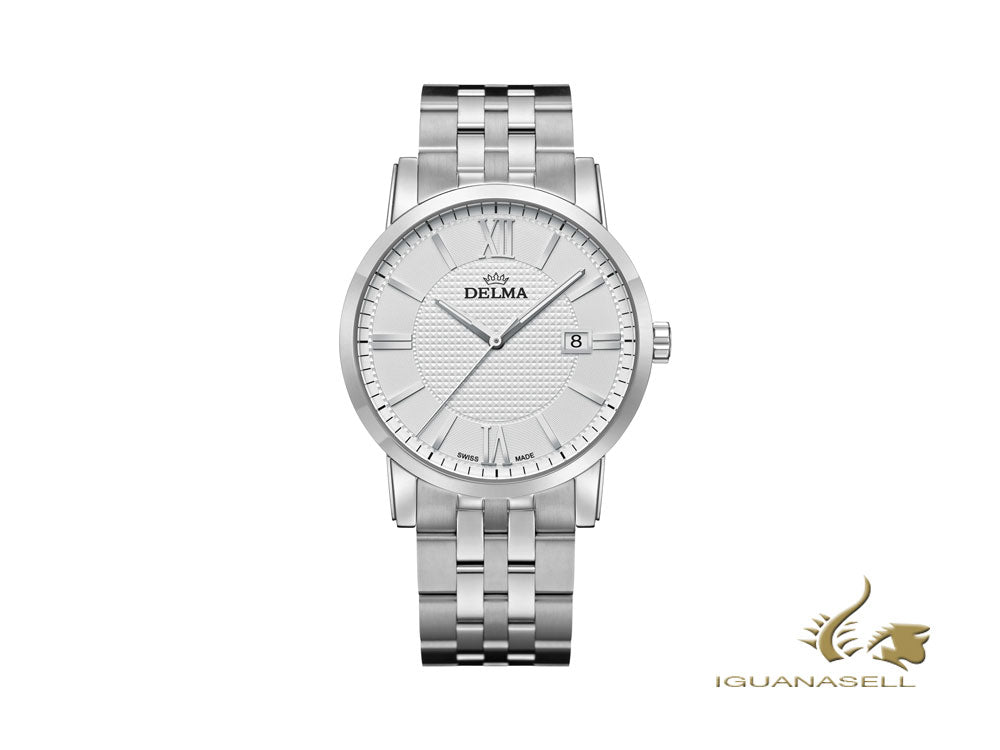 Delma Dress Cordoba Quartz Watch, White, 40 mm, 41702.528.6.011