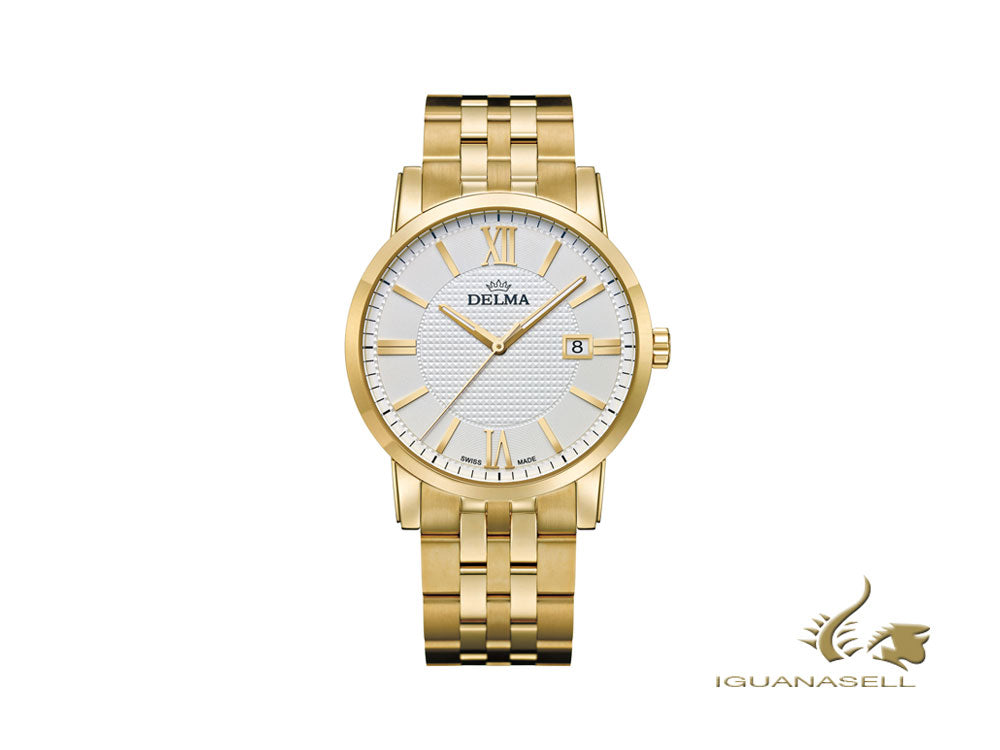 Delma Dress Cordoba Quartz Watch, White, 40 mm, 42702.528.6.011