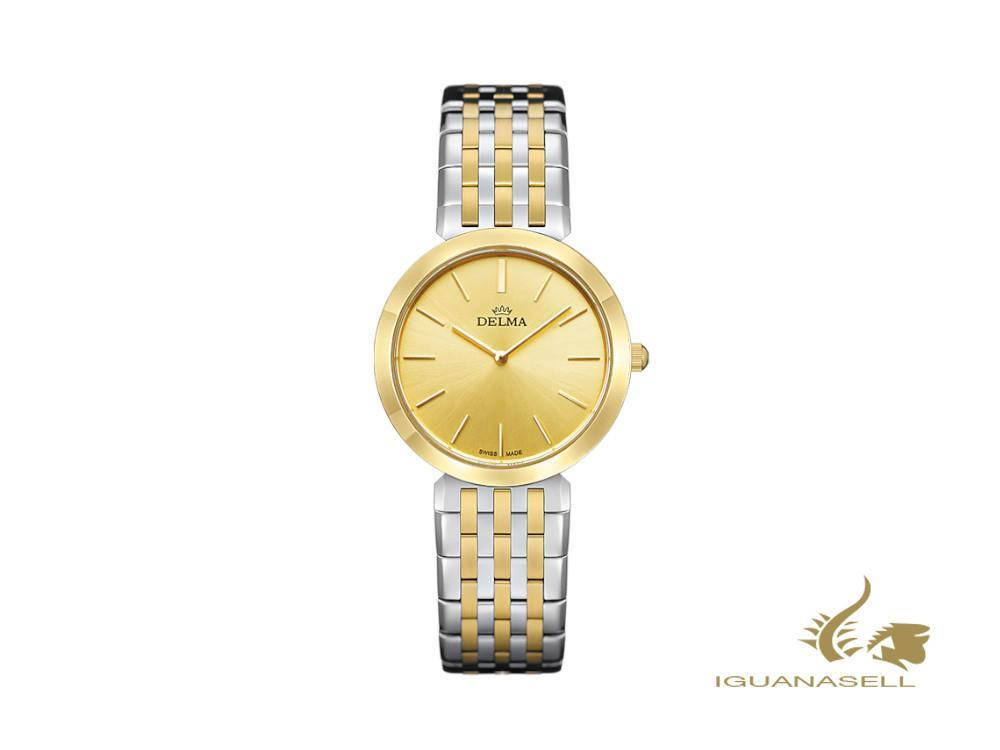 Delma Dress Lido Ladies Quartz Watch, golden, 27,5mm, 5 atm, 52701.595.1.021