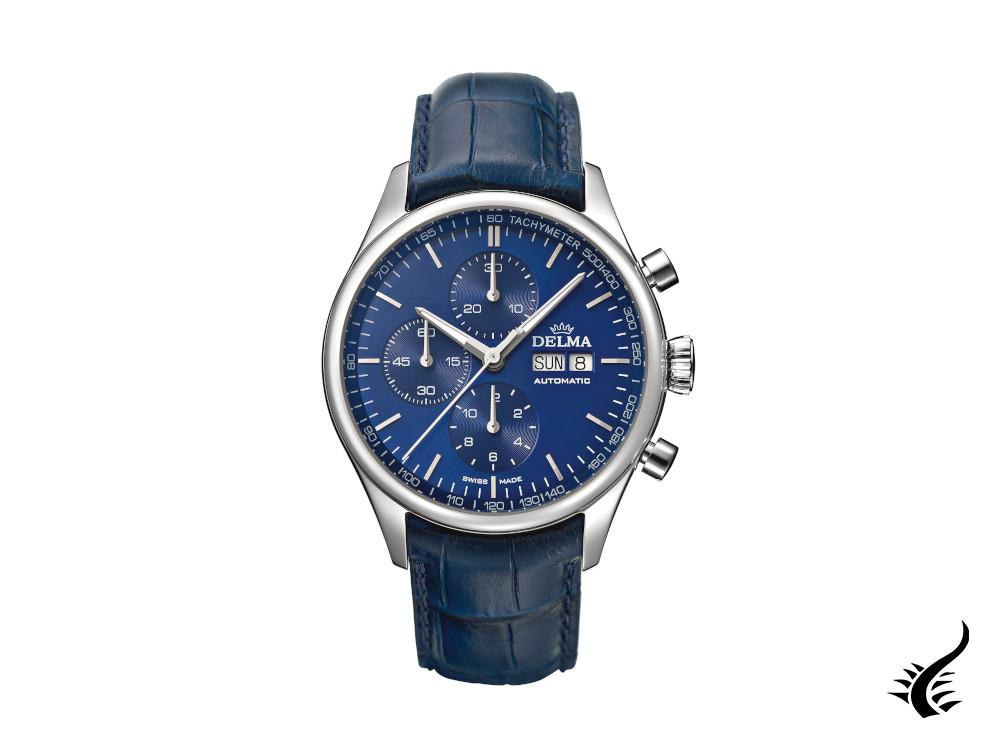 Delma Heritage Chronograph Automatic Watch, Blue, 43 mm, 41601.728.6.041