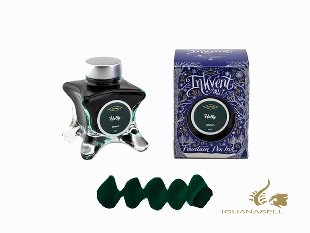 Diamine Ink Bottle Holly Dark, Ink Vent Blue, 50ml, Green