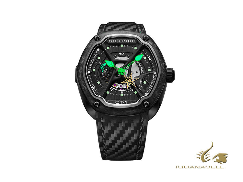 Dietrich OT-1 Automatic Watch, PVD, Forged carbon, 46mm, Leather strap, Carbon