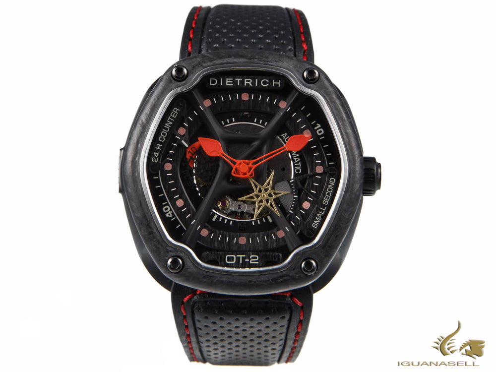 Dietrich OT-2 Automatic Watch, PVD, Black, 46mm, Forged carbon, Leather strap