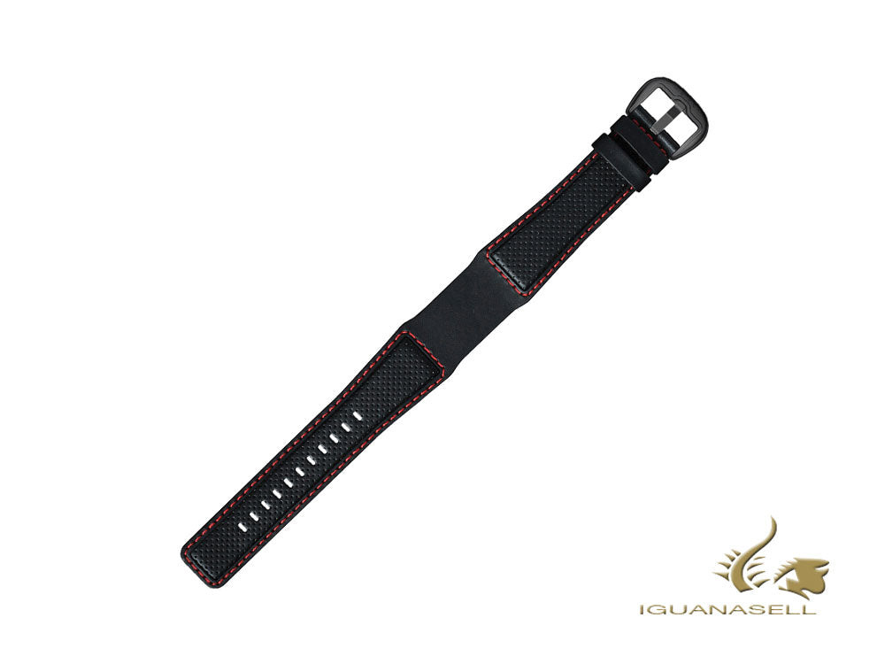 Dietrich Perforated Leather Strap, Black/Red, 22mm, Buckle, Stainless Steel