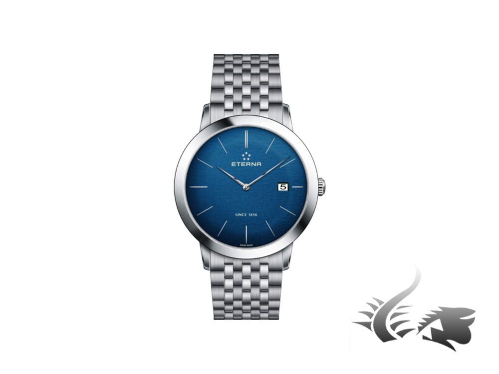 Eterna Eternity Gent Quartz watch, ETA 955.112, 40mm., Blue, Steel bracelet