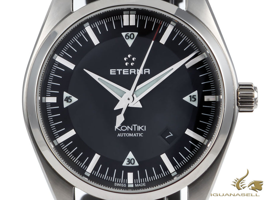 Eterna KonTiki Date Automatic Watch, SW 200-1, Grey, Leather strap