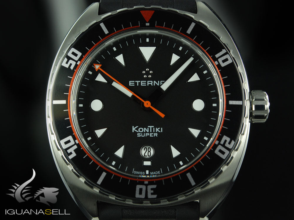 Eterna Super KonTiki Automatic Watch, SW 200-1, Black, Rubber strap
