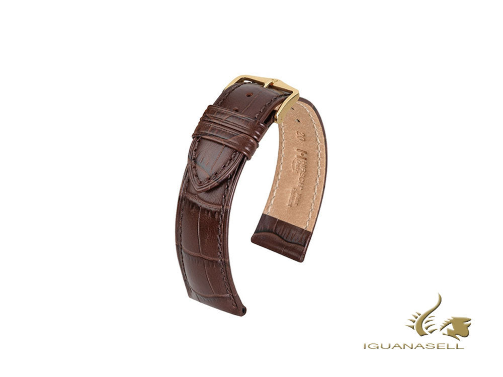 Hirsch Duke Exotic embossed leather Strap, Leather, Brown, 20 mm, 01028010-1-20