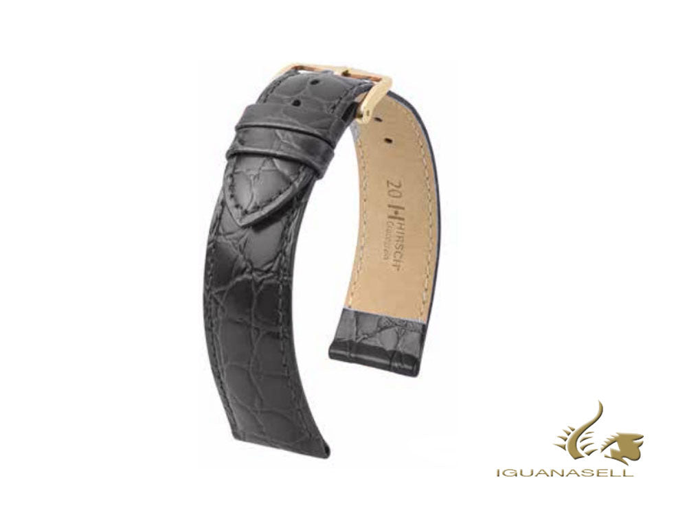 Hirsch Crocograin Exotic embossed leather Strap, Black, 20 mm, 12302850-1-20