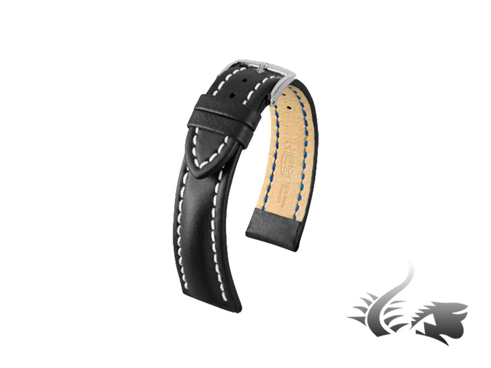 Hirsch Heavy Calf Calfskin Strap, Black, White, 24 mm, Buckle, 01475050-2-24