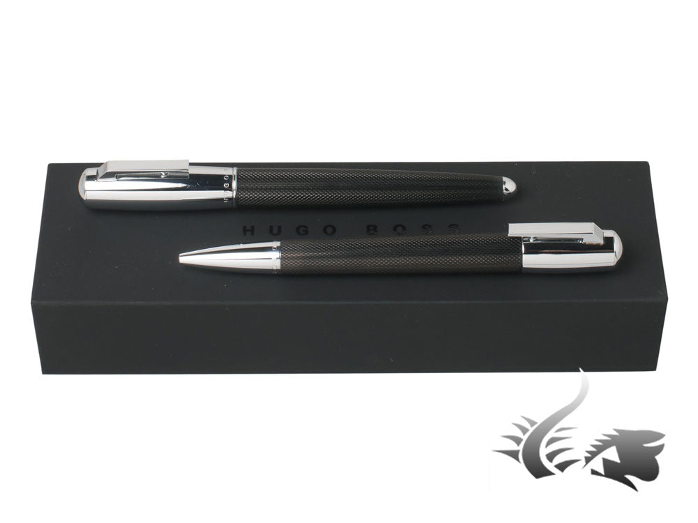 Hugo Boss Pure Black Rollerball pen & Ballpoint pen Set, Lacquer, Chrome trim