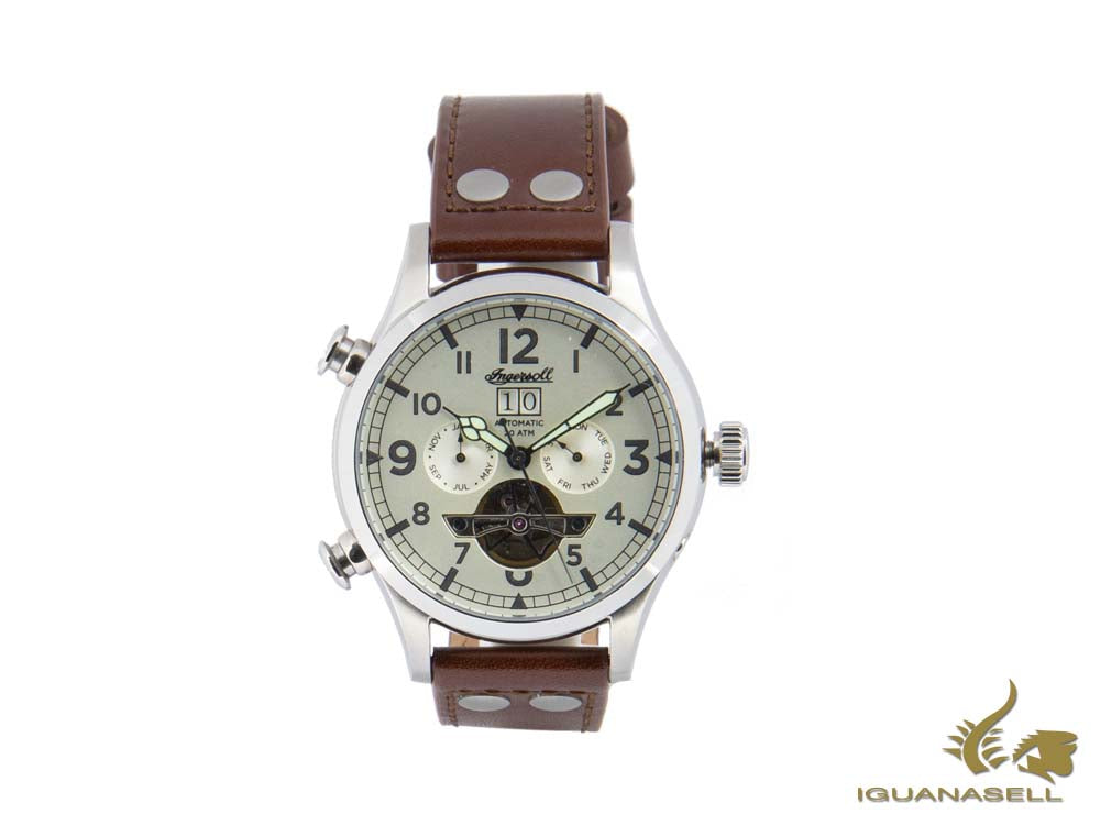 Ingersoll Armstrong Automatic Watch, 46 mm, Beige, 20 atm, Leather, I02101