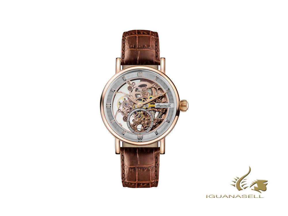 Ingersoll Herald Skeleton Automatic Watch, Rose Gold, 40 mm, Leather, I00401