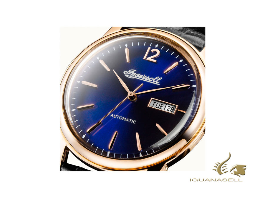 Ingersoll New Haven Automatic Watch, 40 mm, PVD Rose Gold, Blue, Date, I00504