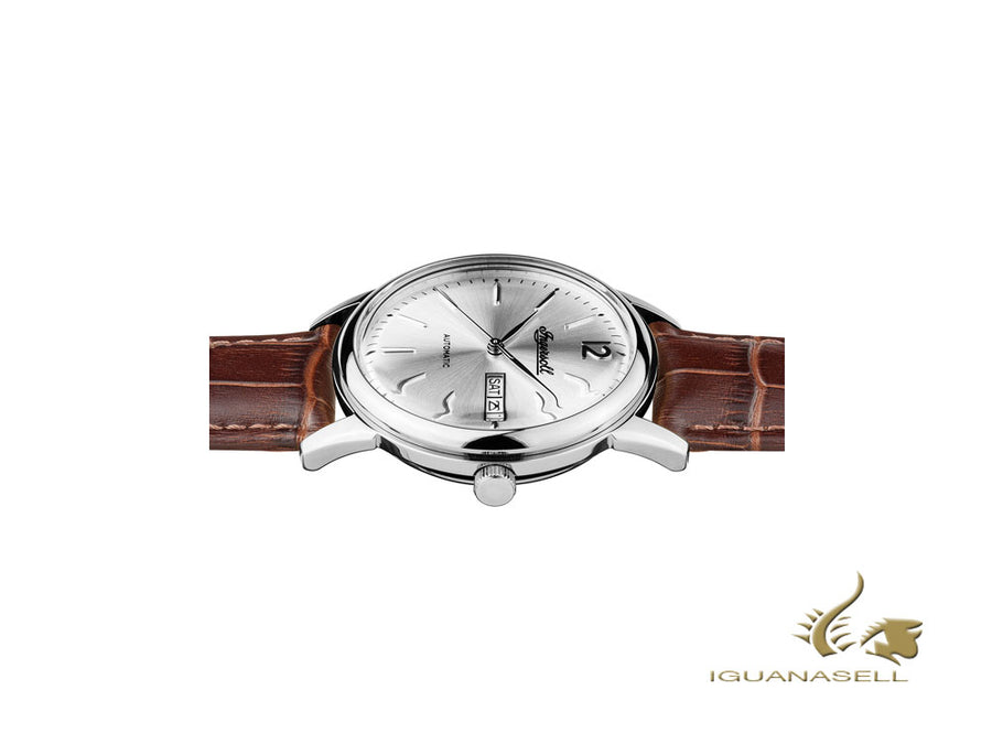 Ingersoll New Haven Automatic Watch, 40 mm, Silver, Leather strap, Date, I00501