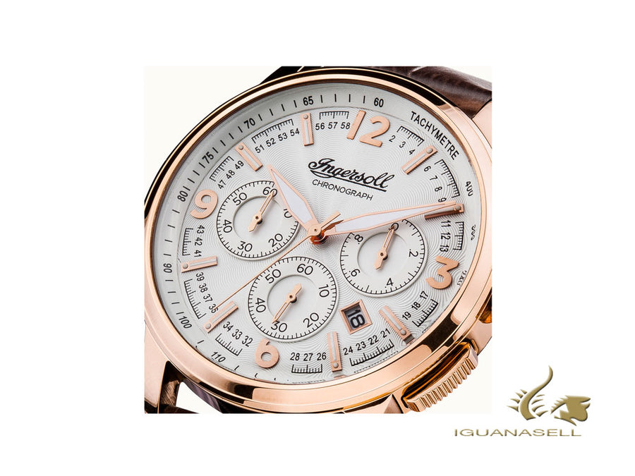 Ingersoll Regent Quartz Watch, Chronograph, 47mm, PVD Rose Gold, Silver, I00101