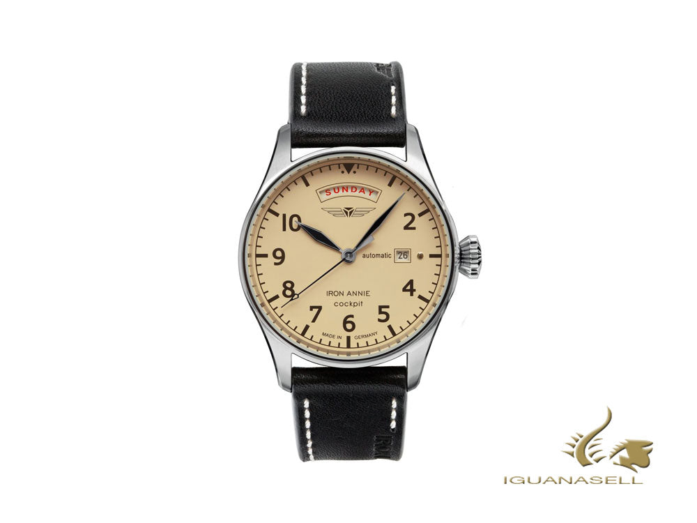 Iron Annie Cockpit Automatic Watch, Beige, 42 mm, Leather strap, 5164-5