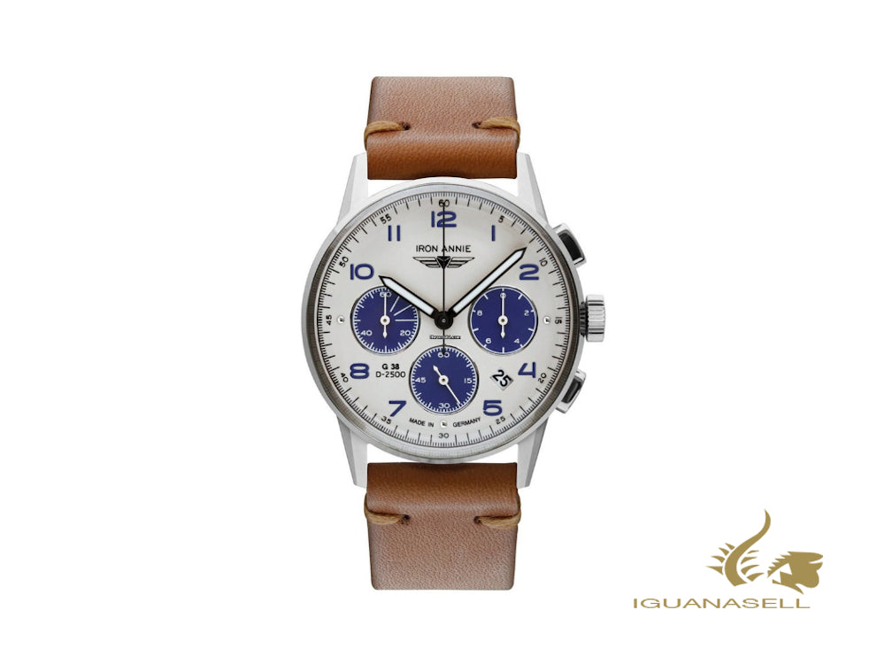 Iron Annie G38 Dessau Quartz Watch, White, 42 mm, Chronograph, Day, 5372-5