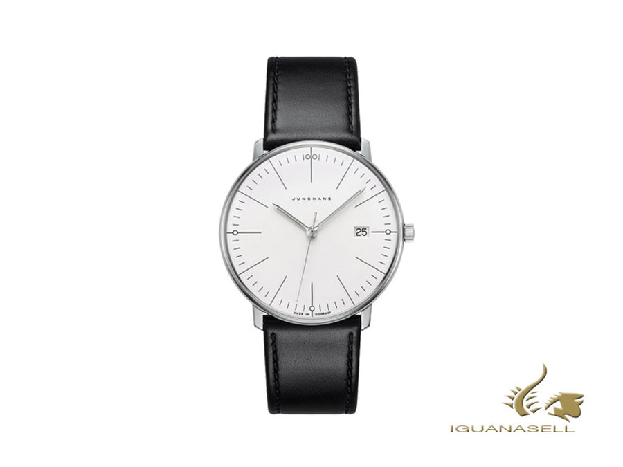 Junghans Max Bill Quartz Watch, 38mm, Silver, Day, Leather strap, 041/4817.00