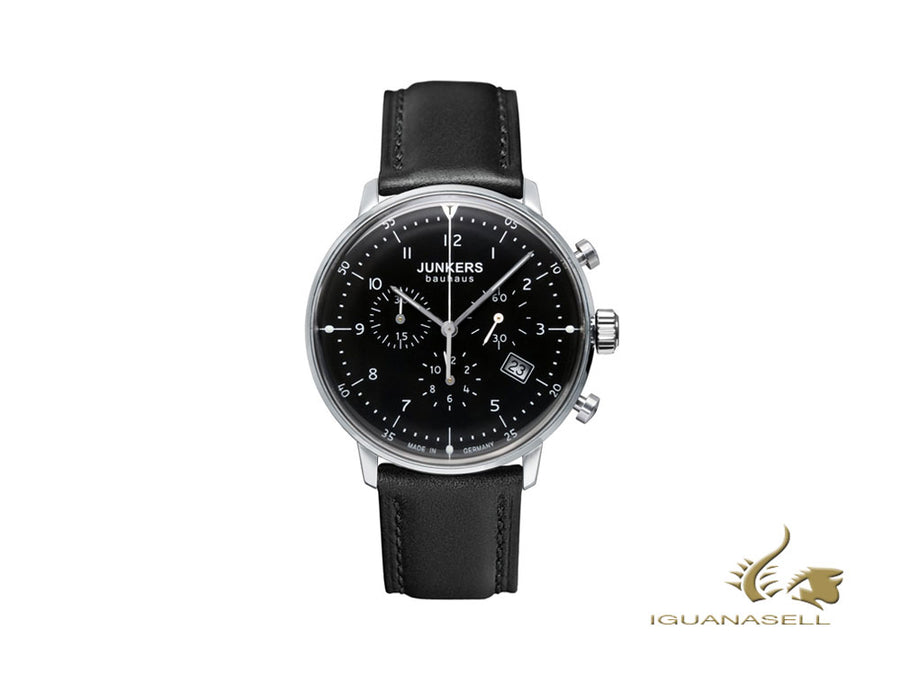 Junkers Bauhaus Quartz Watch, Black, 40 mm, Chronograph, Leather strap, 6086-2