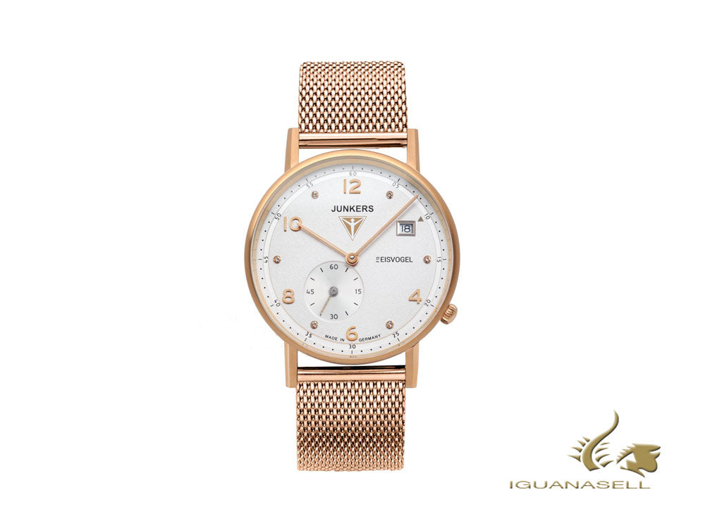 Junkers Eisvogel F13 Lady Quartz Watch, PVD Rose Gold, White, 36 mm, 6733M-5