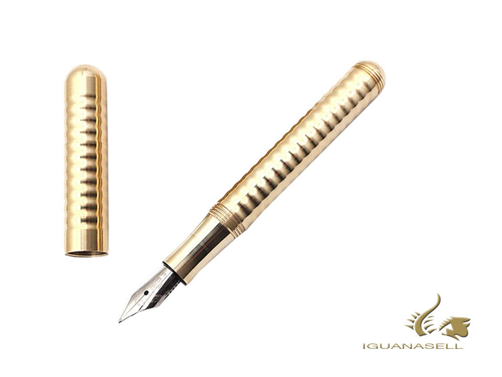 Kaweco Liliput Fountain Pen, Brass, Gold, Polished, Ribbed, 10000871