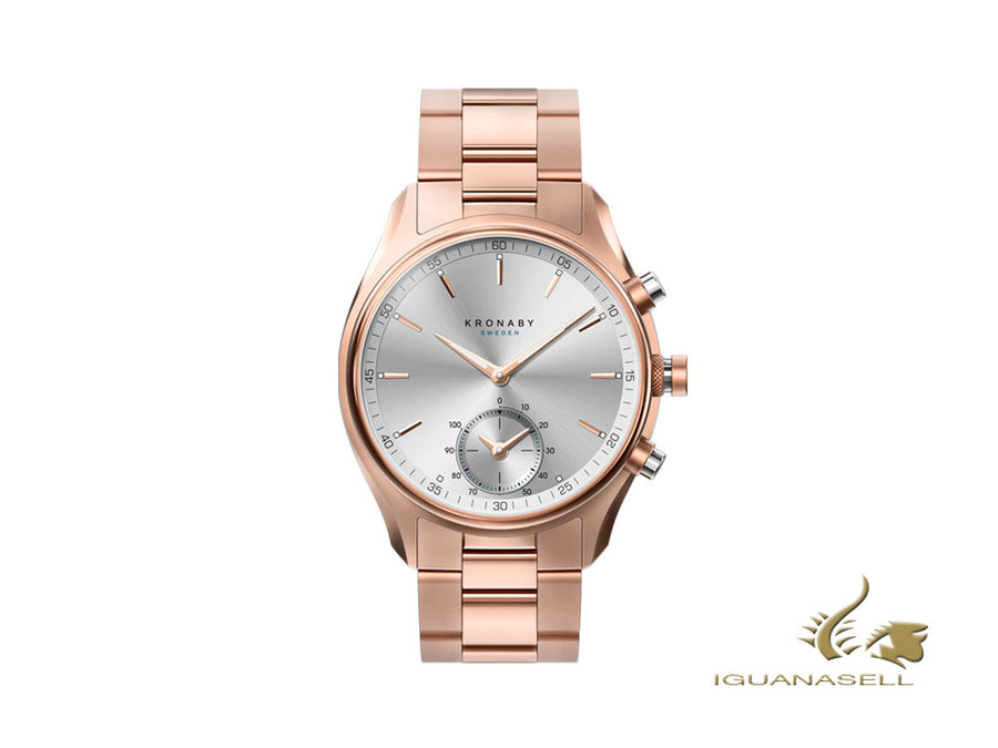 Kronaby Sekel Quartz Watch, PVD Rose Gold, Silver, 43 mm, 10 atm, A1000-2745