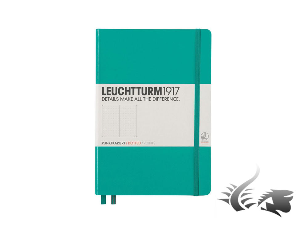Leuchtturm1917 Hardcover Notebook, Medium (A5), Dotted, Emerald, 249 pages