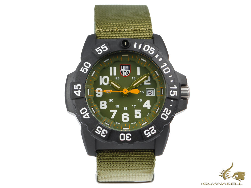 Luminox Sea Navy SealQuartz Watch, Green, Carbon compound, 45mm, 20 atm, XS.3517 Quartz Watch