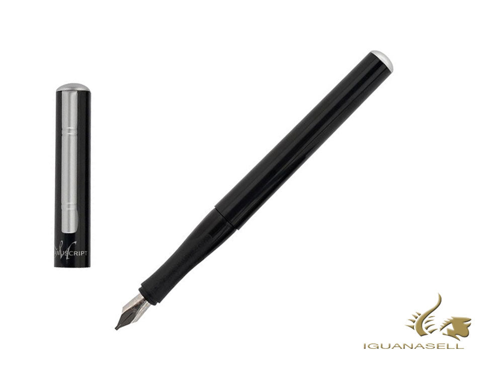 Manuscript Italic Calligraphy Fountain Pen, Black, Polished, MC1605-A