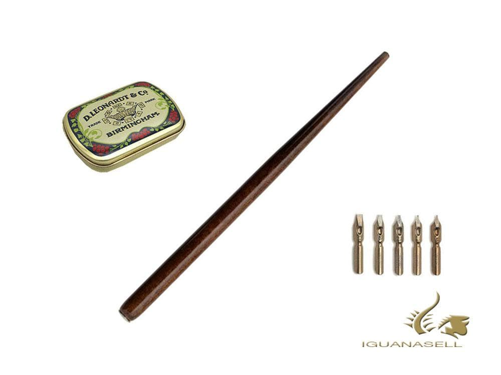 Manuscript Calligraphy Set Leonardt Round, Wood, Brown, Diping, MDP2026-A Calligraphy set