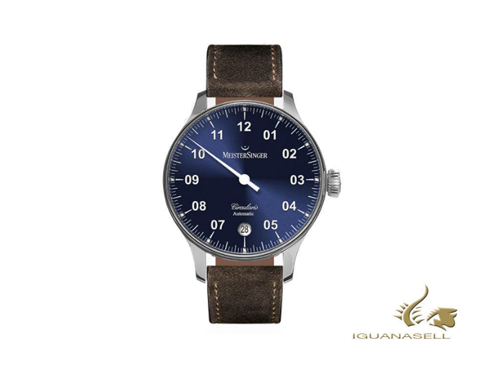 Meistersinger Circularis Automatic Watch, Sunburst Blue, Brown strap, CC908-SV02