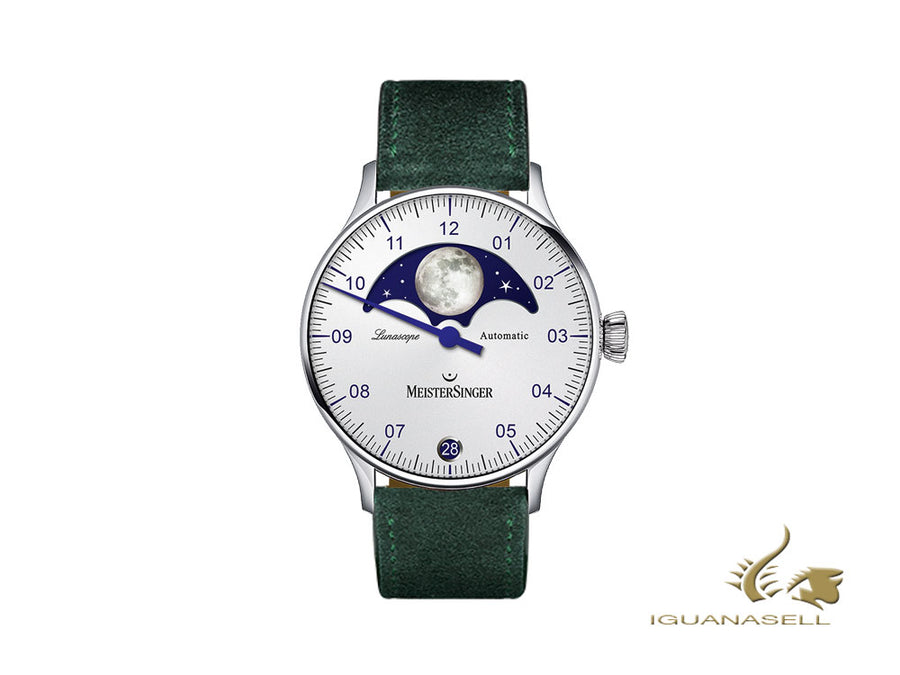 Meistersinger Lunascope Opaline Silver Automatic Watch, 40 mm, Day, LS901-SV17
