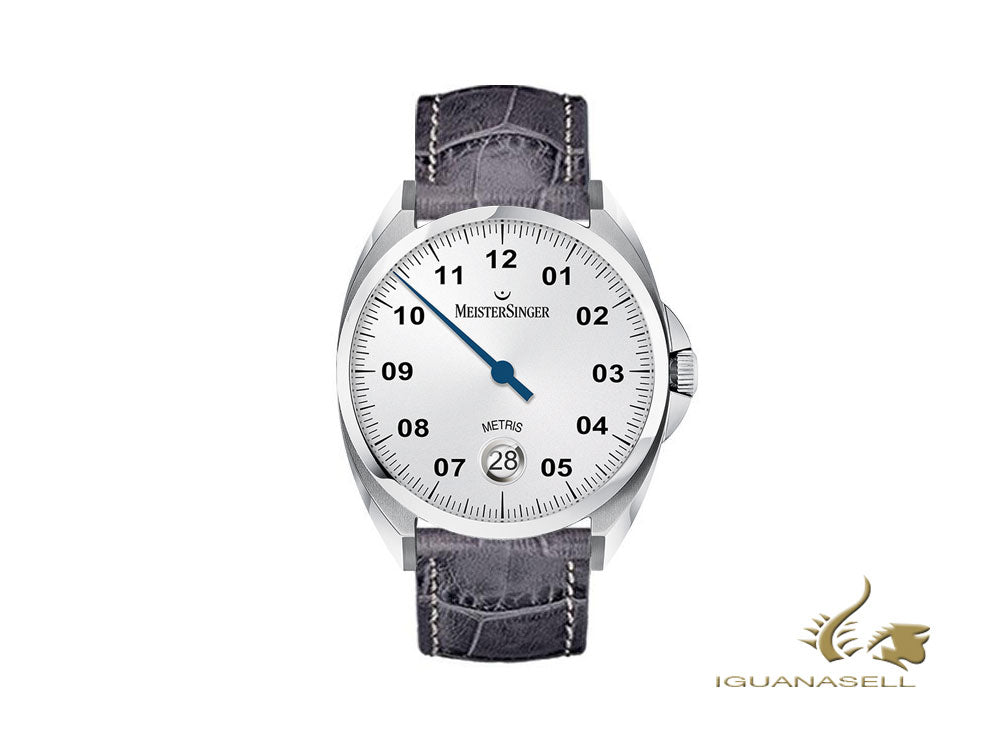 Meistersinger Metris Opaline Silver Automatic Watch, Leather strap, ME901-SG06