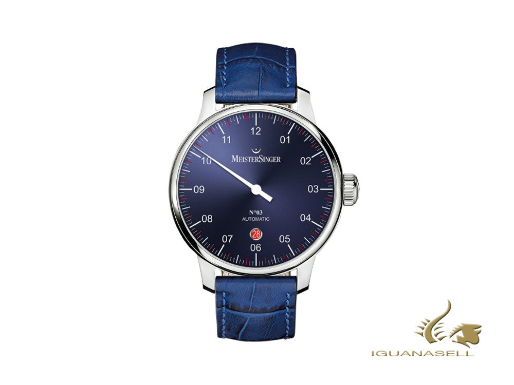 Meistersinger N3 - 40 mm Automatic Watch, Blue, 40mm, Blue, Day, DM908-SG04