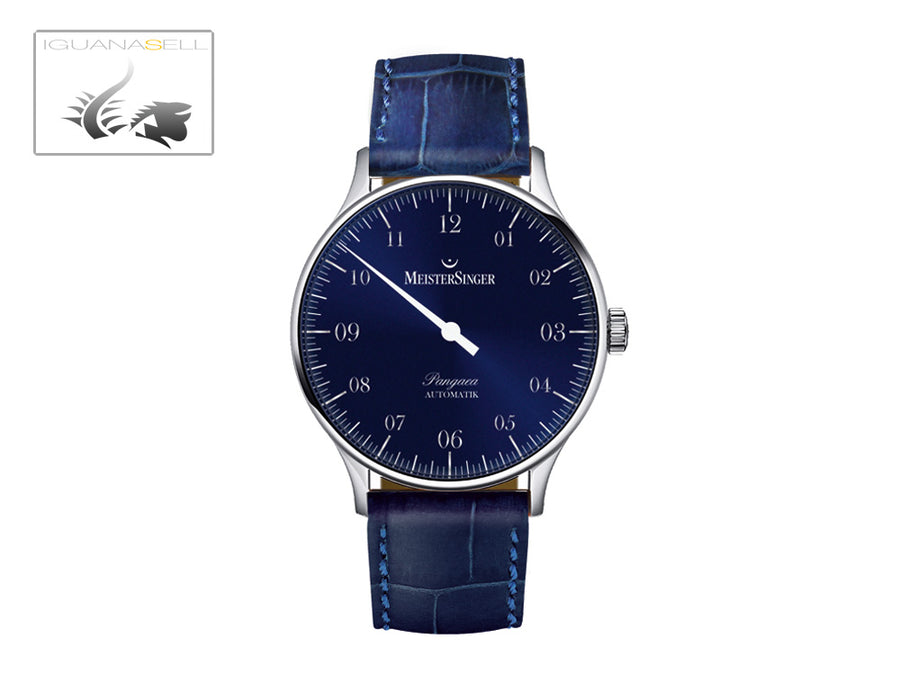 Meistersinger Pangaea Automatic Watch, 40mm. ETA 2892-A2, Blue Leather, PM908